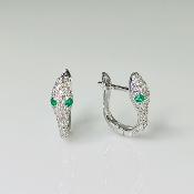 14 Karat White Gold Diamond/Emerald Snake Earrings (0.28/0.06ct)