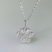 14K White Gold Diamond Paw Necklace 0.12ct