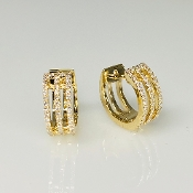 14K Yellow Gold Three Rows Pave Diamond Huggie Earrings 0.25ct