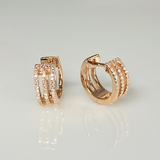 14K Rose Gold Three Rows Pave Diamond Huggie Earrings 0.25ct