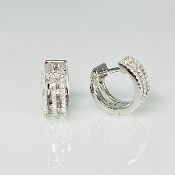 14K White Gold Three Row Pave Diamond Huggie Earrings 0.25ct