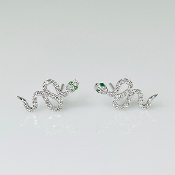 14 Karat White Gold Diamond Tsavorite Snake Earrings