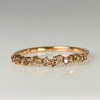 14K Rose Gold Staggered Champagne Diamond Ring 0.25ct