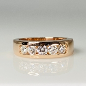 14K Rose Gold Quintuple White Diamond Band 1.0ct