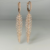 14K Rose Gold Diamond Feather Earrings 1.0ct
