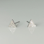 14K White Gold Diamond Triangle Earrings 0.10ct