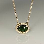 14K Yellow Gold Green Tourmaline Diamond Necklace 1.20/0.15ct
