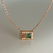 14K Rose Gold Watermelon Tourmaline Diamond Necklace .50/.10ct