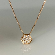 14K Rose Gold Hexagon Diamond Necklace 0.30ct
