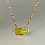 14K Rose Gold Ethiopian Opal Diamond Necklace 0.71/0.10ct