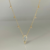 14K Yellow Gold Elongated Diamond Shaped Blue Topaz Necklace