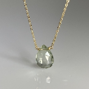 Green Amethyst Drop Necklace 8x10mm