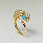 14K Yellow Gold Turquoise and Diamond Chameleon Ring 0.40/0.40ct
