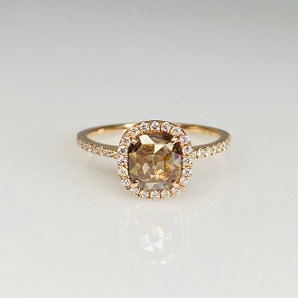14K Rose Gold Champagne Diamond Ring 0.98ct/0.33ct