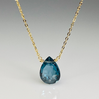 London Blue Quartz Drop Necklace 8x10mm