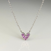 14K White Gold Pink Sapphire Heart Necklace 0.14ct