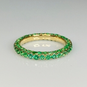 14K Yellow Gold Emerald Eternity Ring 2.7ct