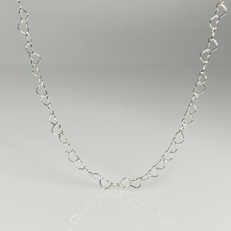 Heart Chain Necklace 3mm - Silver