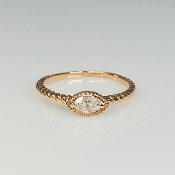 14K Rose Gold Marquise Diamond Ring 0.18ct