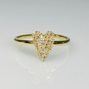 14K Yellow Gold Diamond Heart Ring 0.18ct