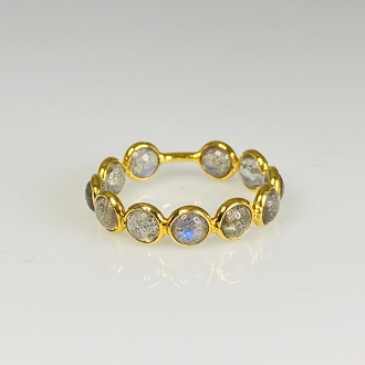 18K Yellow Gold Labradorite Bubble Ring