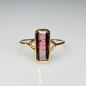 14K Rose Gold Watermelon Tourmaline Ring 1.04ct