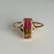 14K Rose Gold Watermelon Tourmaline Ring 1.14ct