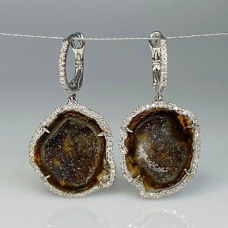 14K White Gold Geode and Diamond Earrings 15.00ct/0.46ct