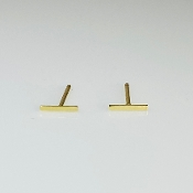 14K Yellow Gold Small Bar Stud Earrings