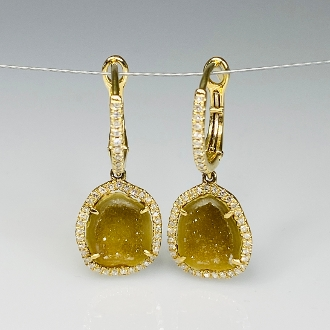 14K Yellow Gold Geode and Diamond Earrings 3.39ct/0.33ct