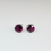 14K White Gold Rhodolite Garnet Stud Earrings 1.48ct