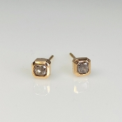 14K Rose Gold Bezel Set Champagne Diamond Stud Earrings 0.54ct
