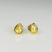 14K Yellow Gold Teardrop Yellow Diamond Stud Earrings 1.07ct