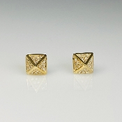 14K Yellow Gold Diamond Pyramid Stud Earrings 0.25ct