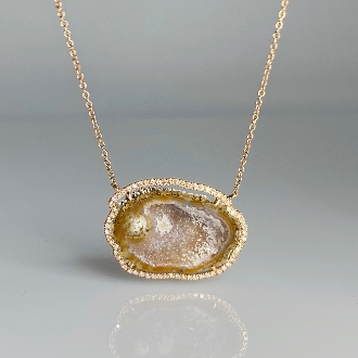 14K Rose Gold Geode Diamond Necklace 7.46ct/0.22ct