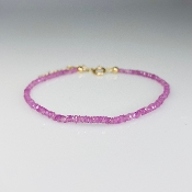 14K Yellow Gold Pink Sapphire Beaded Bracelet 2mm