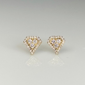 14K Yellow Gold Diamond Shield Stud Earrings 0.22ct