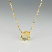 Round Rose Cut Citrine Necklace 8mm