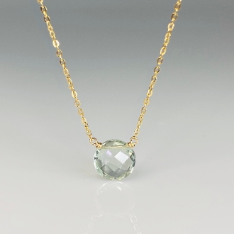 Round Rose Cut Green Amethyst Necklace 8mm