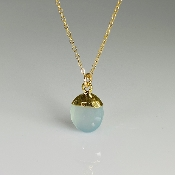 Chalcedony Drop Necklace 9x10mm