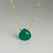 Green Onyx Drop Necklace 10mm