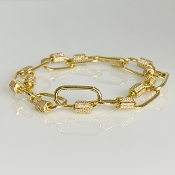 14 Karat Yellow Gold Diamond Carabiner Bracelet