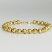 14K Yellow Gold Pave Diamond Ball Bracelet 8.16ct
