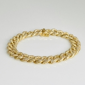 14 Karat Yellow Gold Diamond Cuban Chain Bracelet (3.52ct)