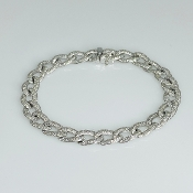 14K White Gold Diamond Link Bracelet 2.32ct