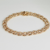 14K Rose Gold Diamond Link Bracelet 2.32ct