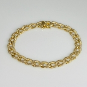 14K Yellow Gold Diamond Link Bracelet 2.32ct