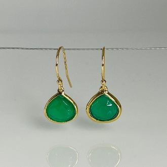 14K Yellow Gold Green Onyx Earrings 10mm