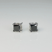 14K White Gold Princess Cut Black Diamond Stud Earrings 1.71ct