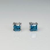 14K White Gold Asscher Cut Blue Topaz Stud Earrings 1.32ct
